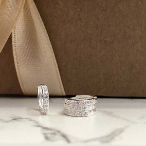 Silver Small Huggie Cartilage Pave Hoop Earrings